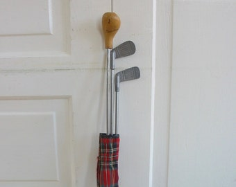Vintage Child Golf Clubs, Plaid Golf Clubs, Small Golf Clubs, Plaid Case, Toy Golf Clubs, Vintage Red Plaid