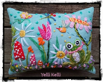 Frog and Fern Freehand Embroidered Spring Pillow Ready to Ship YelliKelli