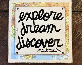 Explore DREAM Discover  Mark TWAIN Hand Painted quote sign Nursery Art Girls Boys Room Decor Vintage Map FREE Shipping