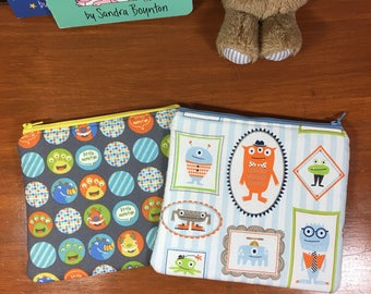 Set of 2 Boys Monster Reusable Insulated Snack Bag, Zipper Pouch, Zipper Reusable Snack Pouch,
