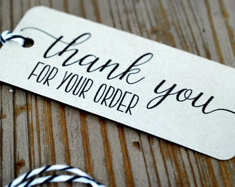 Set of 10 Thank You Tags, Heavy Cardstock, Bakers Twine, Etsy Orders, mad4plaid