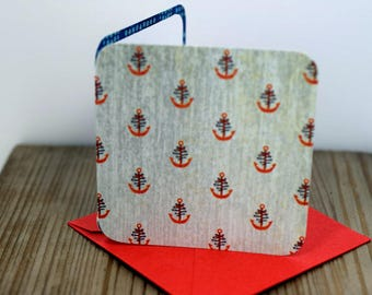 Blank Mini Card Set of 10, Mini Anchor Design with Contrasting Pattern on the Inside, Bright red Envelopes, mad4plaid