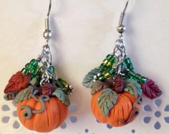 Fall Pumpkin Polymer Clay Earrings