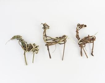 Set of 3 Primitive Twig Figures, Hunting Magic, Prehistoric Woven Deer, Ornament, Archeaological Deer, Antelope, Huntsman's Talisman, Set AB
