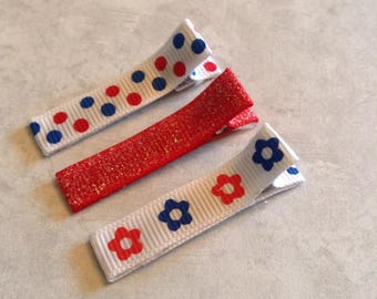 Simple Patriotic Hair Clippie, Toddlers Hair Clips, Girls Hair Bows, Clippies, Simple Clippies, Red White & Blue, July Fourth, Summer Clips
