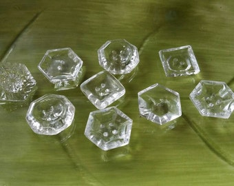 Vintage Buttons - 9 assorted, novelty cut glass geometric  designs  Depression glass (lot feb 351 17)