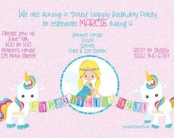 Unicorns and Fairy Party invitation