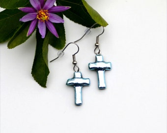 150 Fused glass dichroic silver cross earrings