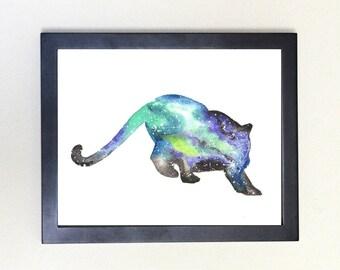 Puma Galaxy Spirit Animal Art Print Watercolor 8x10