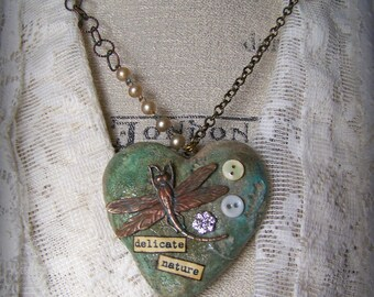 Mixed Media Altered Gypsy Necklace Altered Necklace Vintage Dragonfly Necklace Vintage Mixed Media Vintage Gypsy Jewelry Heart Pendant