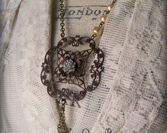 Handmade Vintage Assemblage Necklace Found Objects Gypsy Necklace Antique Hardware Steampunk Altered Jewelry Vintage Altered Necklace