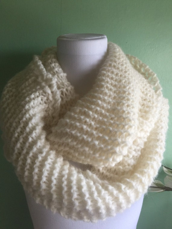 Hand Knit Infinity Fashion Scarf with Alpaca Yarn Soft and Lightweight Cream Heather