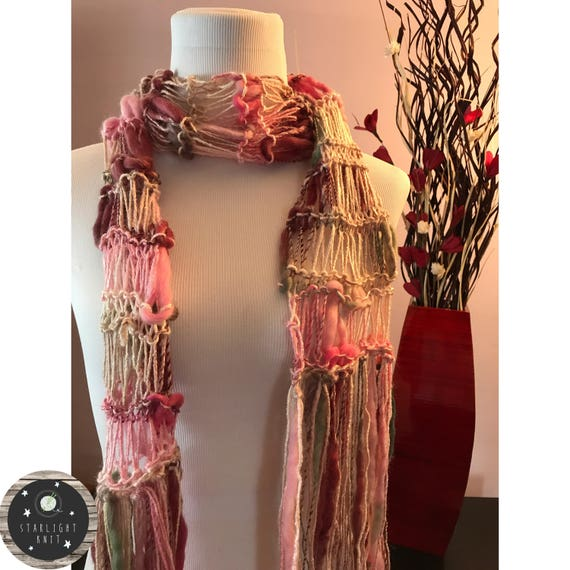Hand Knit Ladies Fashion Accessory Scarf in Rose Garden Pinks, Creams and Greens
