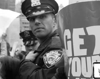 Resist, #shepersisted, #nastywomen, B&W Photograph, NYPD, fine art, photo print, wall art, home decor, protest, womens march, New York