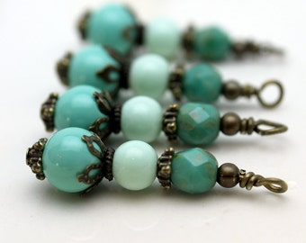 Vintage Style Turquoise Glass and Czech Bead Earring Dangle with Brass Pendant Charm Drop Set
