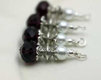 Purple Crystal Dangle and White Pearl Vintage Style Earring Dangle Necklace Charm Set