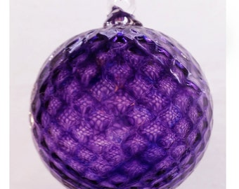 Amethyst Purple Diamond Facet Blown Glass Ornament 3.5 inches FREE SHIPPING