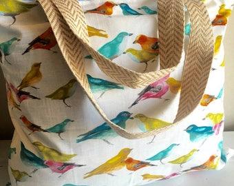 Birds, tote, bag, reversible bag, reversible tote, beach bag, beach tote, Spring, large bag, large tote, extra large bag, extra large tote