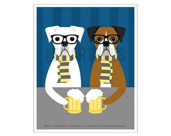 317D Boxer Dog Art - Hipster Boxer Dogs Drinking Beer Wall Art - Whimsical Dog Art - Beer Art Print - Boxer Dog Print - Funny Beer Decor