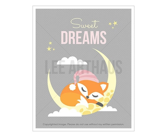 7T Fox Print - Sweet Dreams - Baby Girl Fox on Moon Wall Art - Girl Nursery Decor - Woodland Art - Animal Poster - Fox Drawing - Fox Art