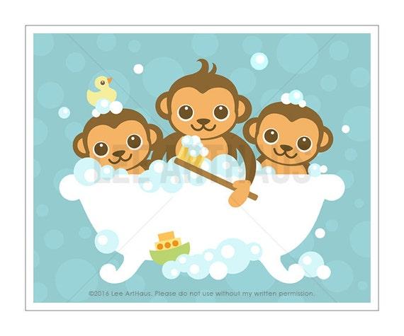 25A Monkey Print - Three Monkeys in Bathtub Wall Art - Monkey Nursery Wall Art - Bathroom Print - Bath Prints - Bathroom Print - Bath Decor