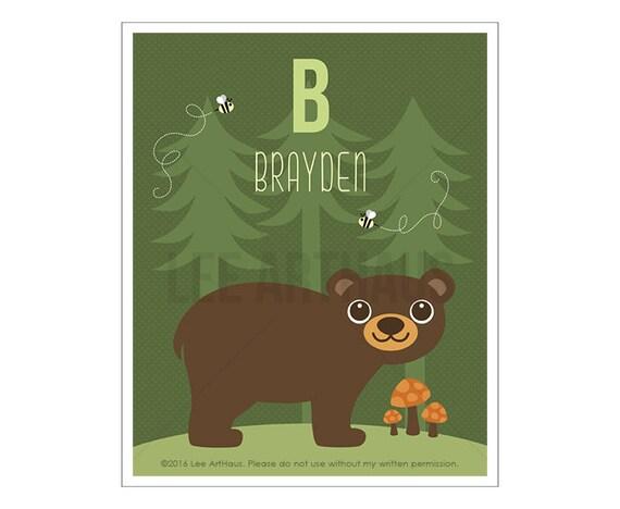 129P Bear Print - Personalized Letter B  Brown Bear Green in Forest Wall Art - Woodland Animal Art - Bear Wall Art - Woodland Nursery Decor