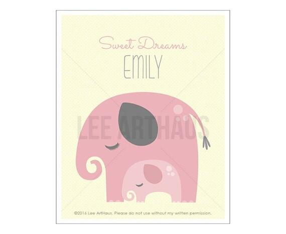 154P Elephant Nursery Print - Sweet Dreams - Personalized Name Elephant Wall Art - Custom Girl Art - Art for Girls - Pink Elephant Print