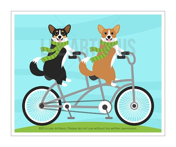 305D Bicycle Art Prints - Two Corgi Dogs on Tandem Bicycle Wall Art - Tandem Bike Art - Bicycle Built for Two - Bike Drawing - Corgi Prints