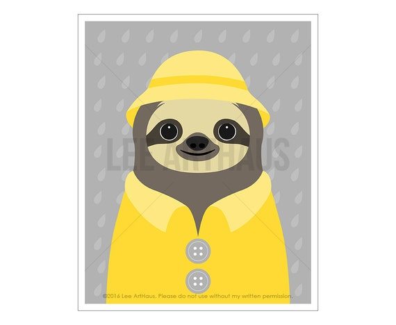 48J Sloth Drawing - Sloth Wearing Yellow Raincoat Wall Art - Sloth Artwork - Sloth Portrait - Art for Kids - Rain Coat Print - Raindrops Art