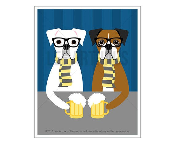 317D Boxer Dog Art - Hipster Boxer Dogs Drinking Beer Wall Art - Whimsical Dog Art - Beer Art Print - Boxer Dog Print - Funny Beer Decor