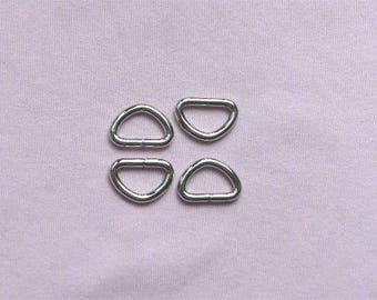 Nickel Unwelded D Rings --50 pcs--0.5 inch inside wide
