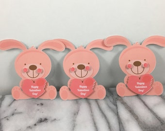 Valentines, Pink Bunny set of 12, Mini note cards, Valentines Day, Classroom Valentines, School Valentines, Preschool Valentines