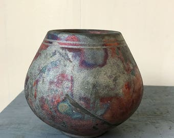 handmade pottery vase - vintage ceramic pot - fired glaze - purple black