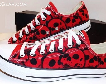 Skull Converse mens skull shoes - unique painted All Stars