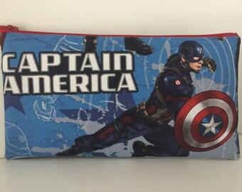 Captain America Pencil Pouch - Cotton Zipper Pouch - Superhero