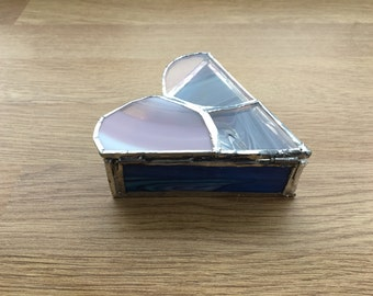 Heart shaped stained glass jewellery box