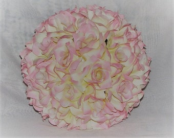 10in Kissing ball Silk Flower Pink and Ivory Open Rose  Wedding Decoration Pomander Ball