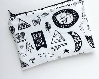 Zippered Snack Bag - Kids Snack Bag - Lunch Pouch - Black & White - Snack Bag - Lunch Bag - Adventure Awaits