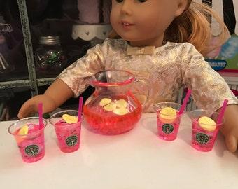 Pink lemonade set for American Girl Dolls, starbucks drinks