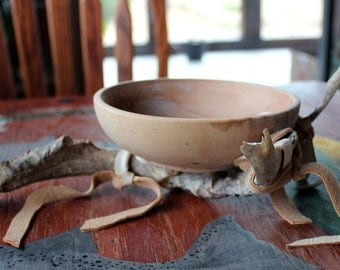 Wooden ritual offering bowl on real whitetail deer antler base with deerskin leather decoration pagan Wicca altar