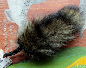 Raccoon tail - real eco-friendly green dyed raccoon fur totem tail on recycled leather extra strong belt loop for shamanic dance RS05