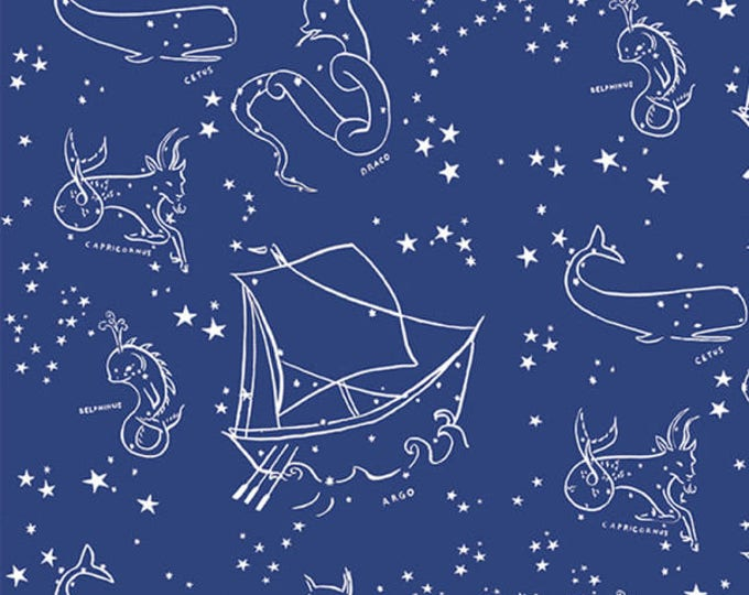 Saltwater KNIT - Stars of the Sea in Blue by Emily Winfield Martin for Birch Fabrics - Organic Cotton Knit Fabric