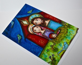Nativity with Birds - Greeting Card 5 x 7 inches - Folk Art By FLOR LARIOS