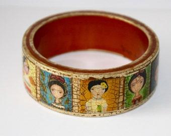 Frida - Original Wooden Bangle - Small -  Folk Art by FLOR LARIOS