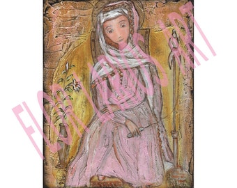 Mater Admirabilis - Giclee print mounted on Wood (4 x 5 inches)  by FLOR LARIOS