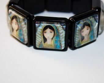 Virgen de Guadalupe -  Art Stretch Glass Bracelet - by  FLOR LARIOS
