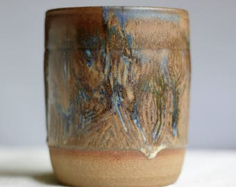 Stoneware hand carved container - faux bois wood grain design glazed in maple and sapphire blue