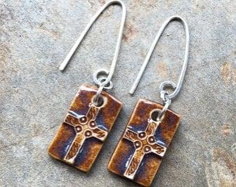 Brown Ceramic Rectangular Cross Earrings