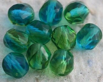 TWISTED SUMMER DAY No. 2  .. 10 Premium Czech Faceted Glass Beads 7x8mm (1692-10)