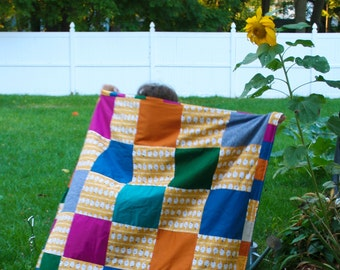 Ghostly Baby Quilt with Minky and Patchwork Sweet Spooky Ghosts